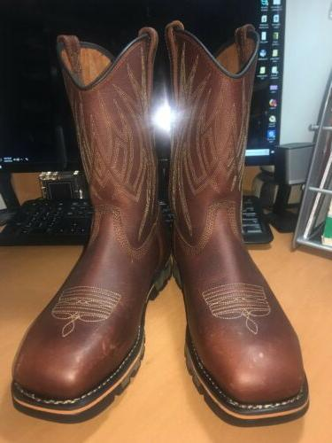 355 alloy toe cowboy boots leather brown