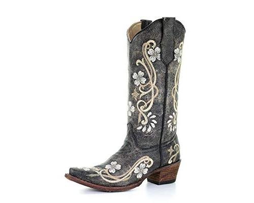 USED Corral Circle G Women's Floral Embroidered Cowgirl Boot