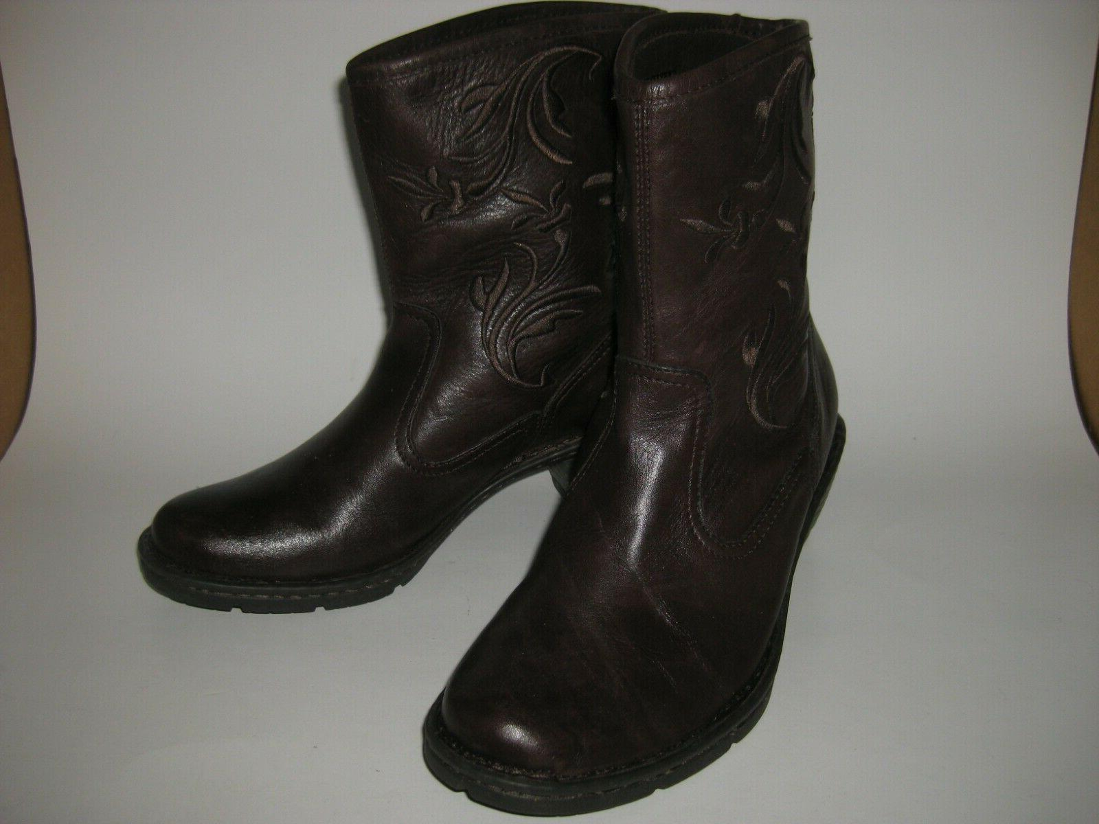 amelia dark brown western style boots shoes