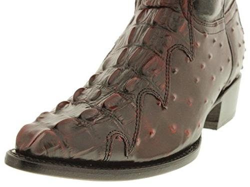 Team Black Crocodile Ostrich Cowboy Boots 2E