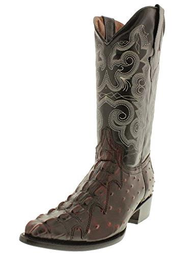 Team West - Men's Black Cherry Crocodile Ostrich Boots 2E