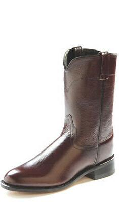 Old West Black Cherry Mens Corona Calf Leather Roper Toe Cow