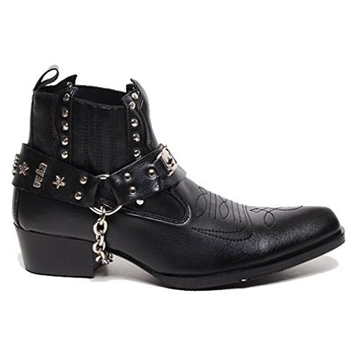 Epicsnob Mens Black Western Chain Riding Ankle