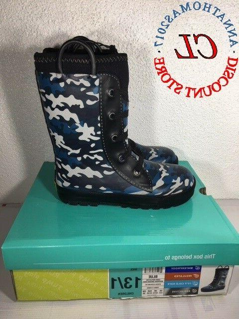 boys neoprene snow rain boot children blue