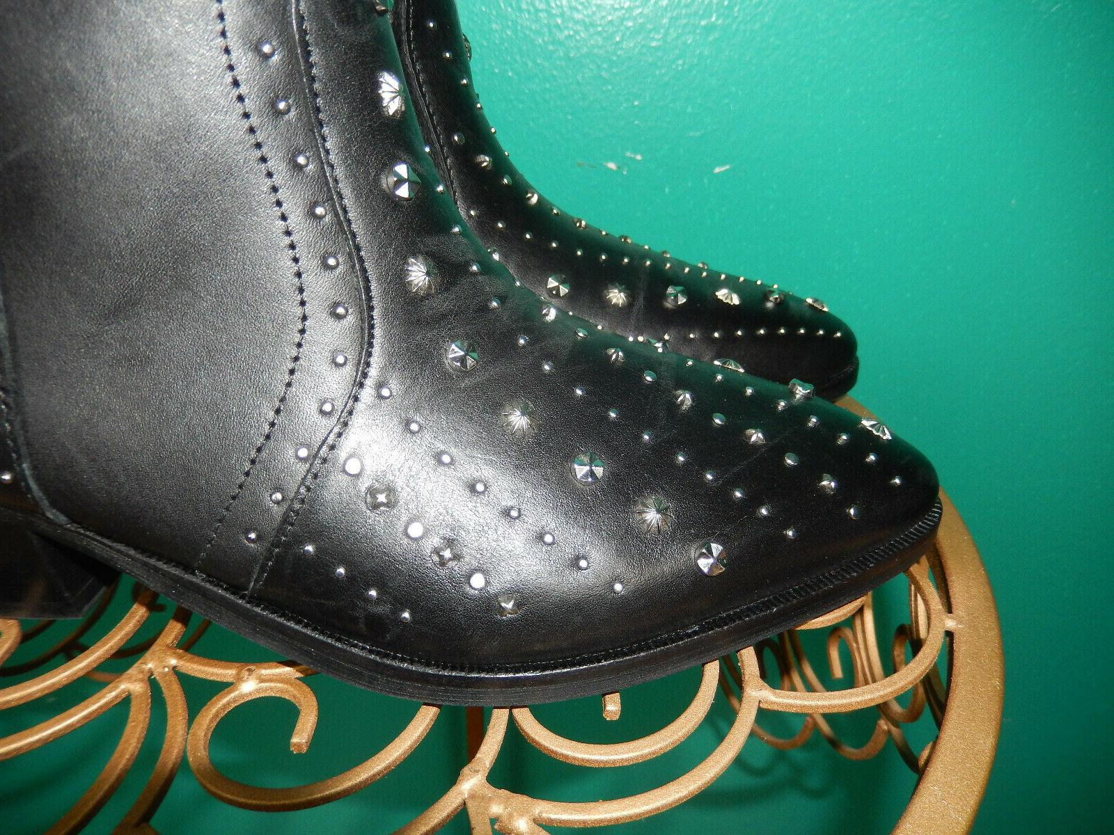 SAM EDELMAN BRIAN LEATHER STUDDED BOOTS 8