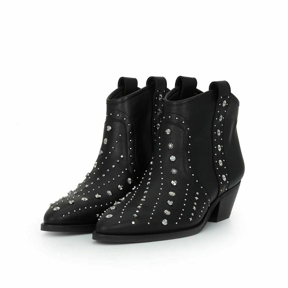 brian black leather studded western ankle boots