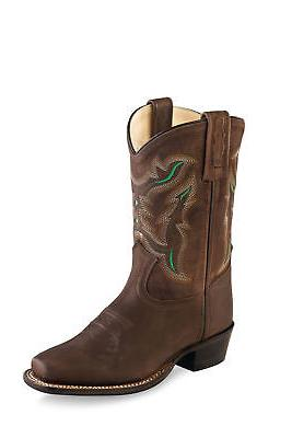 brown green kids boys leather cowboy boots