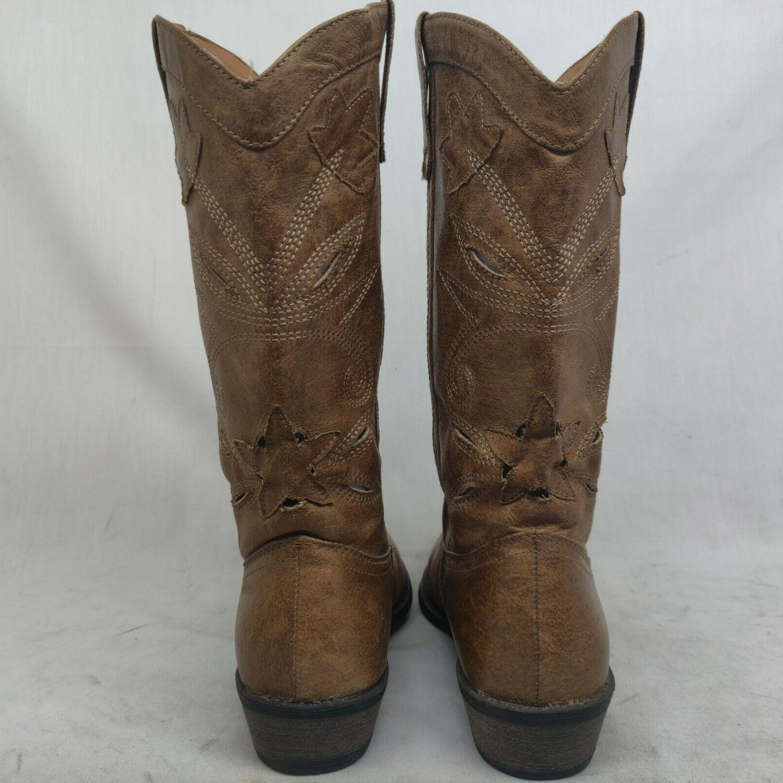Coconuts Brown Perforated Cowboy Western Boots Size 6