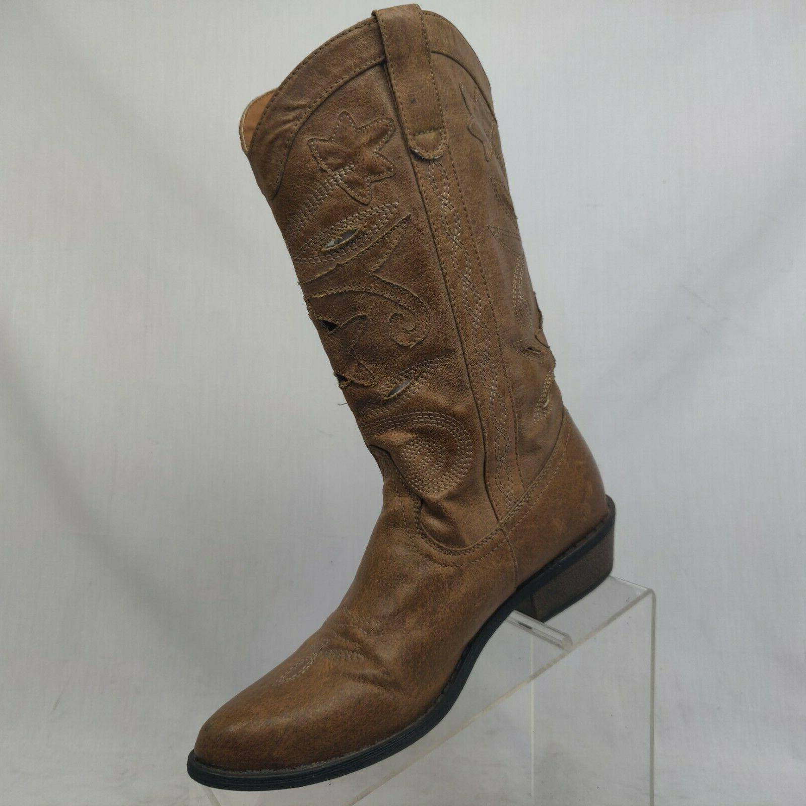 Coconuts Brown Perforated Fashion Boots Size 6