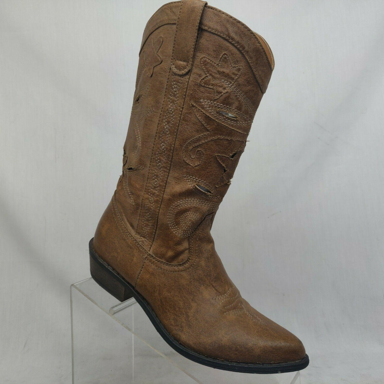Coconuts Perforated Western Boots Size