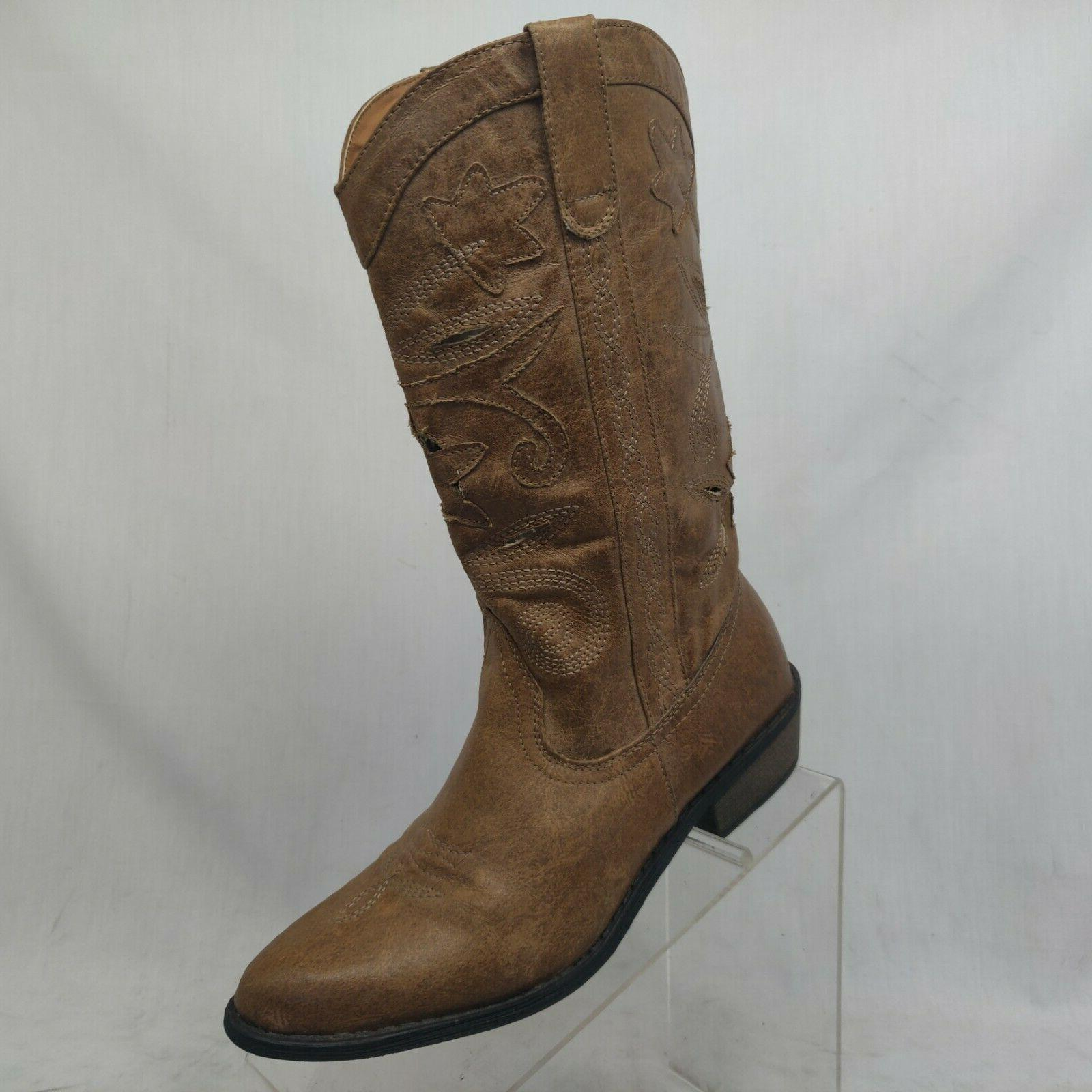 brown vegan leather perforated cowboy western fashion