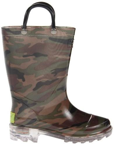 Western Chief Boys Rain Boots that Light up Camo Green, 9 M US Toddler