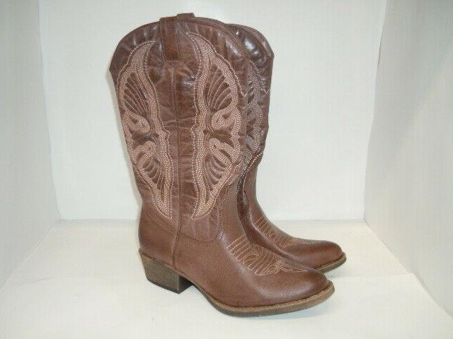 Coconuts Western Boots 9 M, Brown leather