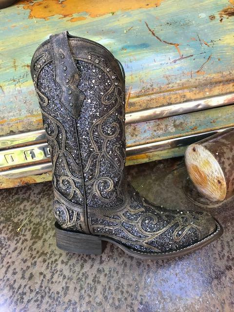 Corral Overlay Glitter Square Western Cowboy Boots