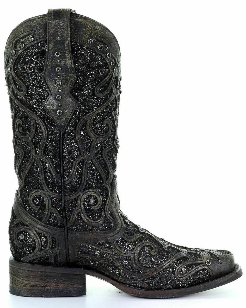 Overlay Black Glitter Western Boots