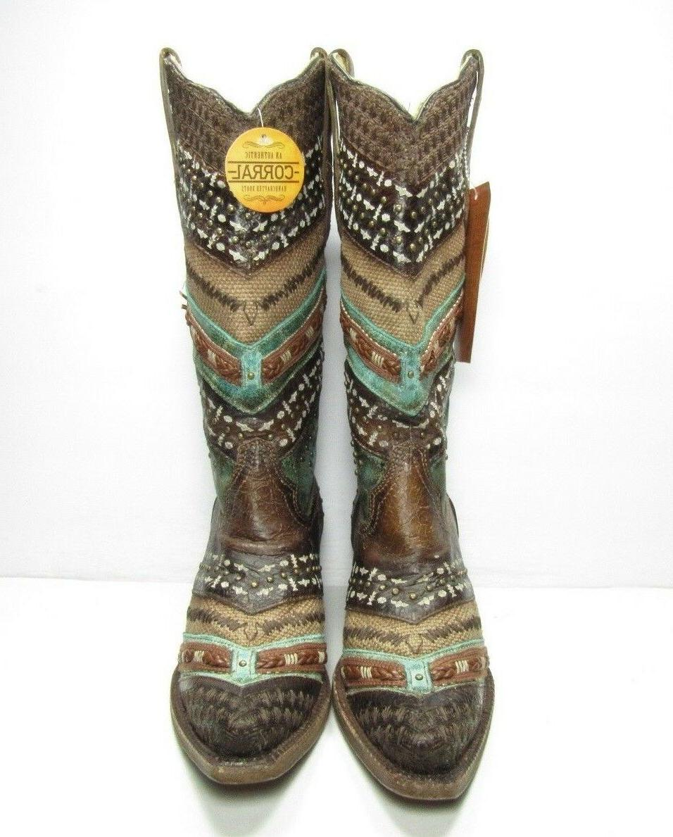 Corral Embroidery and Snip Toe Western Women's Size:7.5 M