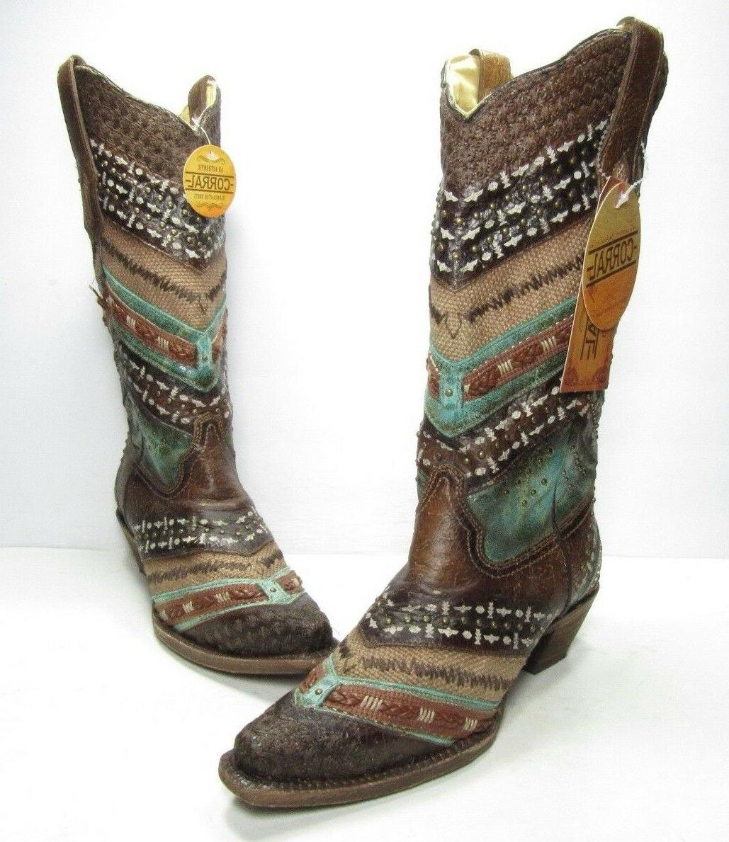 corral embroidery and studs snip toe western