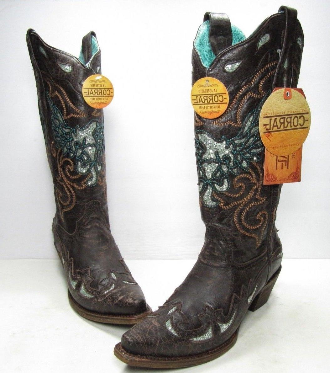 corral glittery inlay and embroidery western boots