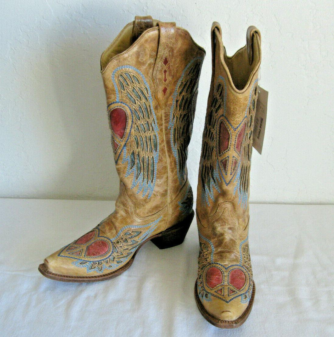 CORRAL Handcrafted Western Boots Wing Peace A1976 M US