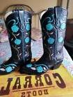 Corral Ladies Black  & Turquoise Inlay roses/Embroidery West