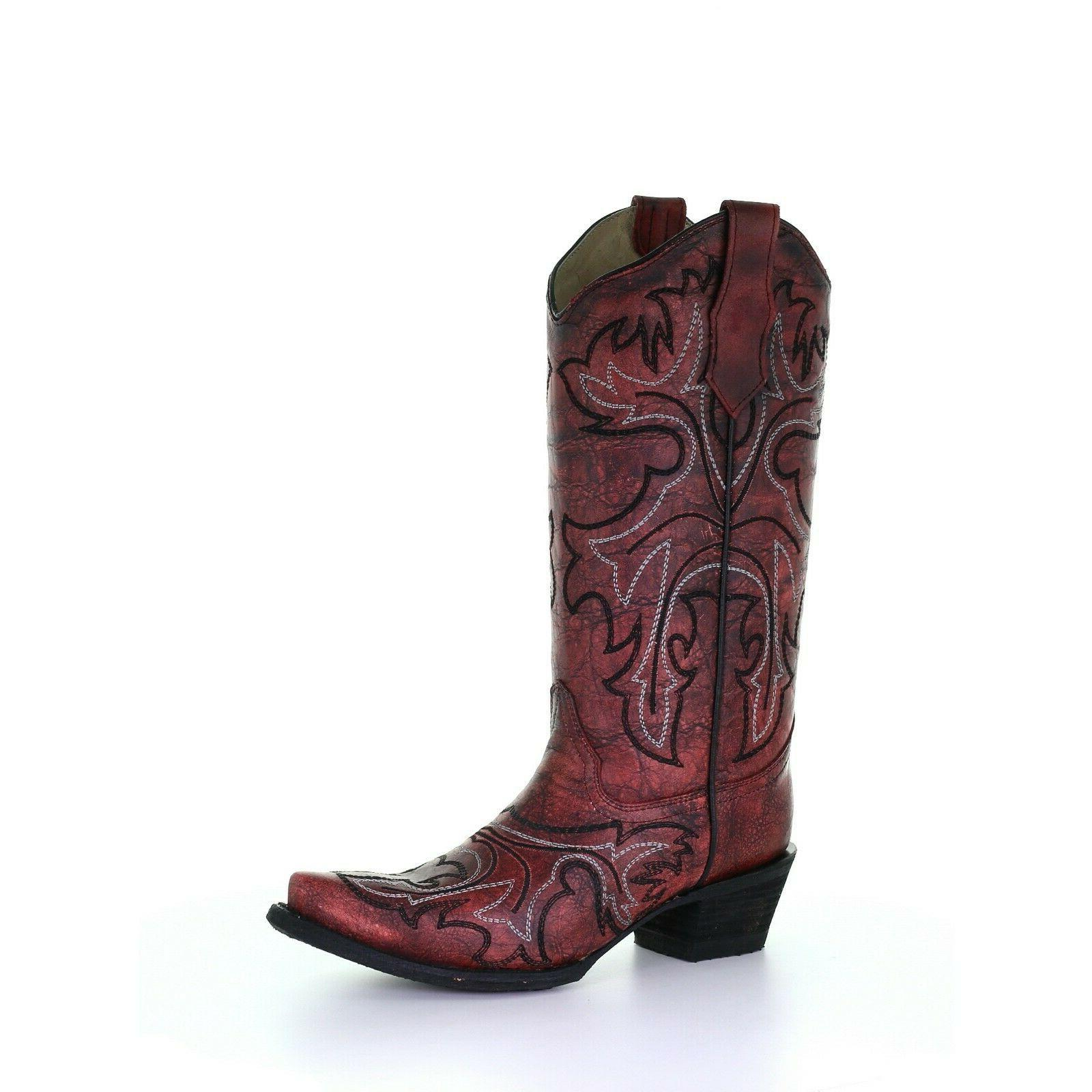 corral ladies embroidered red snip toe western