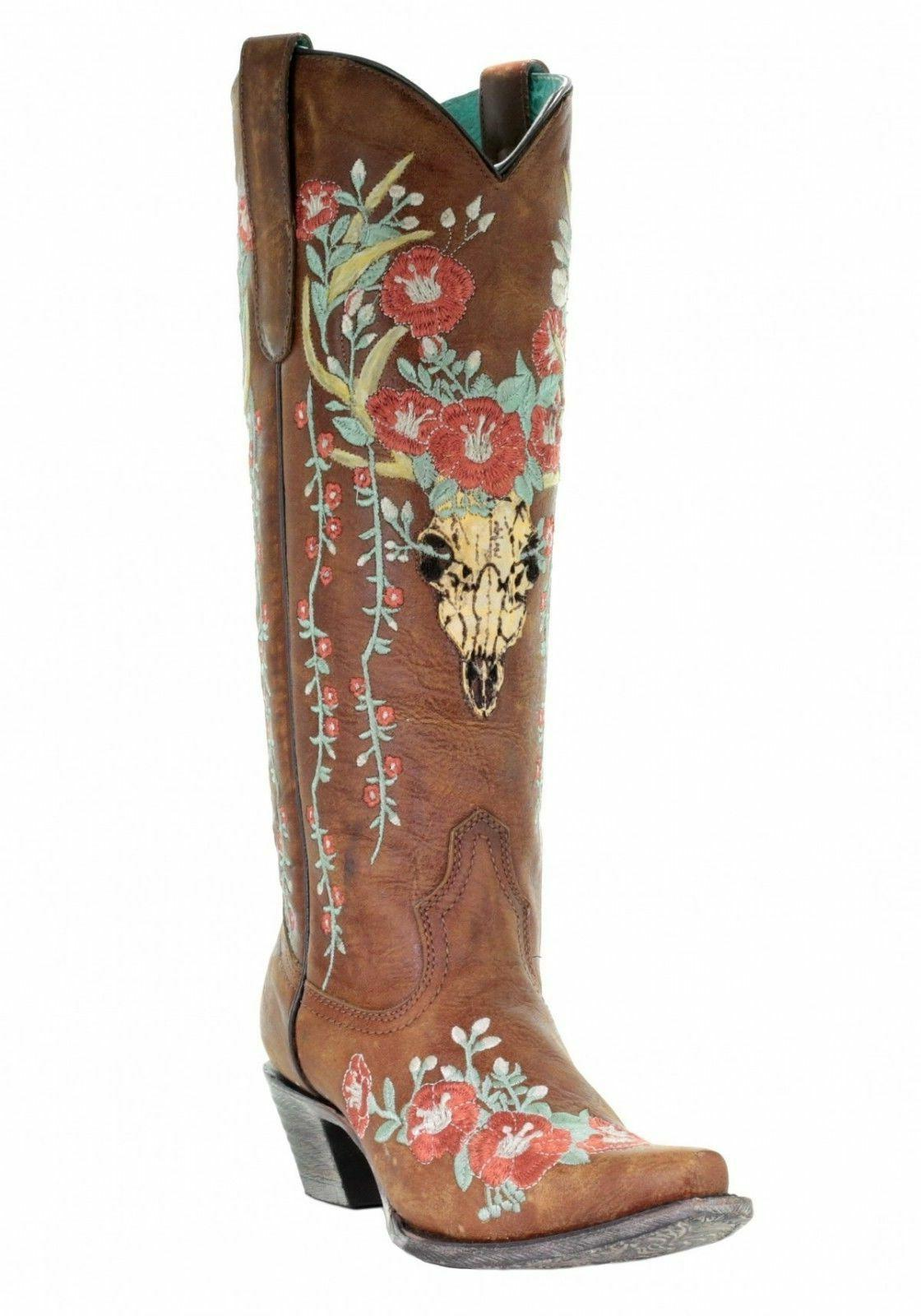corral tan deer skull floral embroidered western