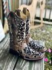 Corral Women's Bone & Black Sequin Floral Inlay Square Toe W