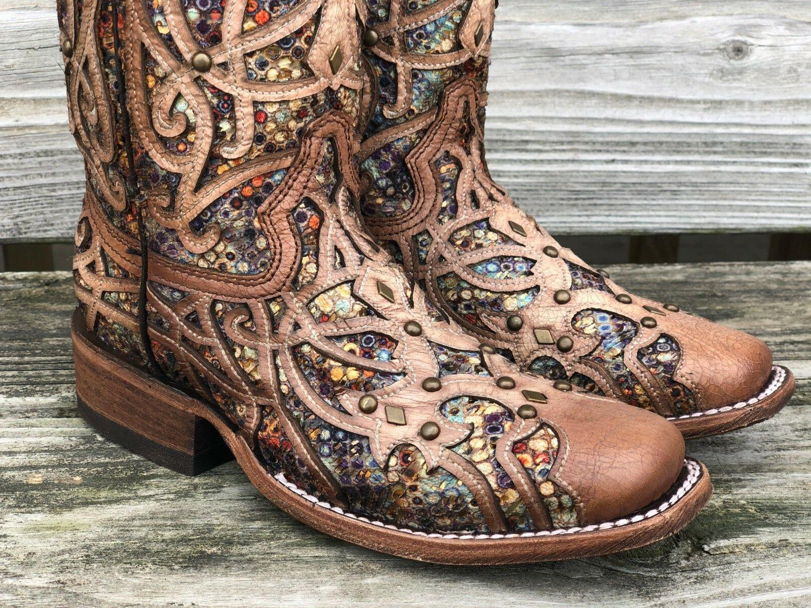 Corral Women's Multi Color Inlay Toe Western