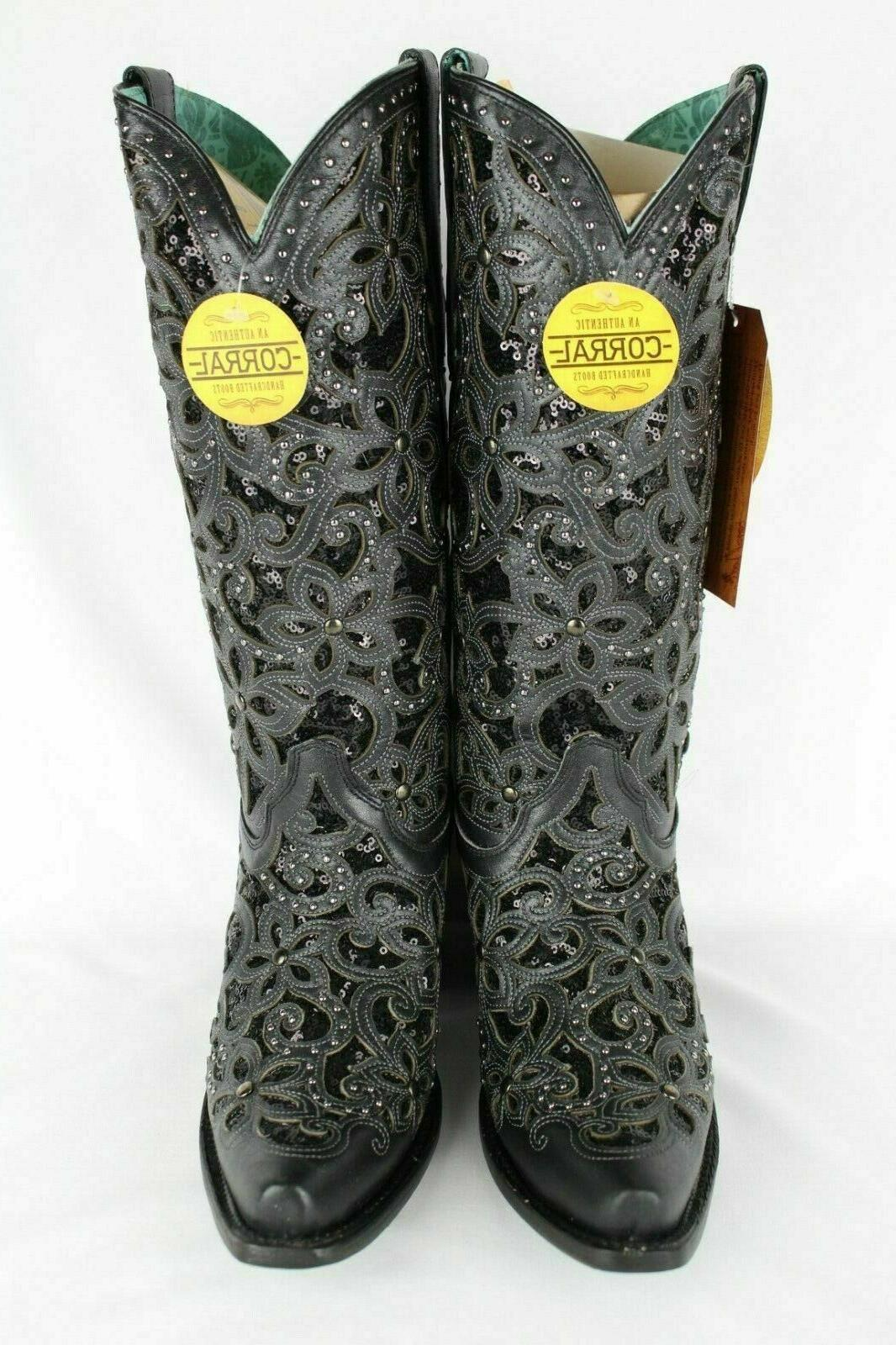 Corral Embroidered Inlay Western Size 7 Black A3752
