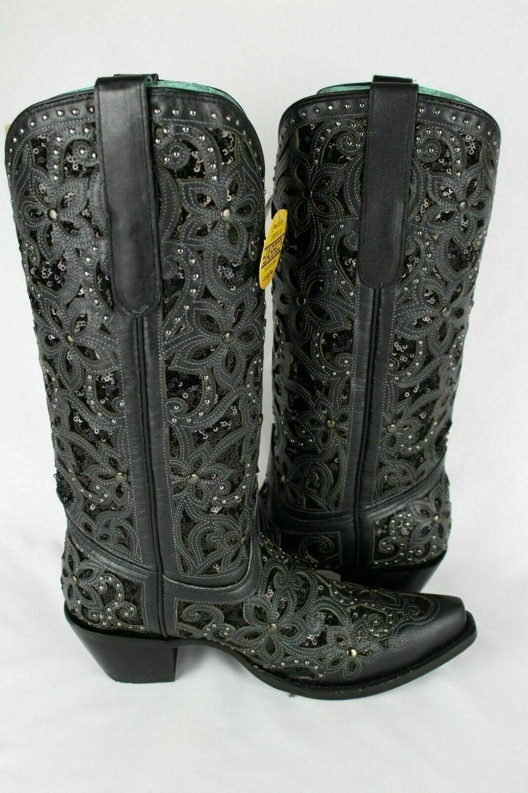Corral Women's Inlay Glitter Western Boots Size 7 Black