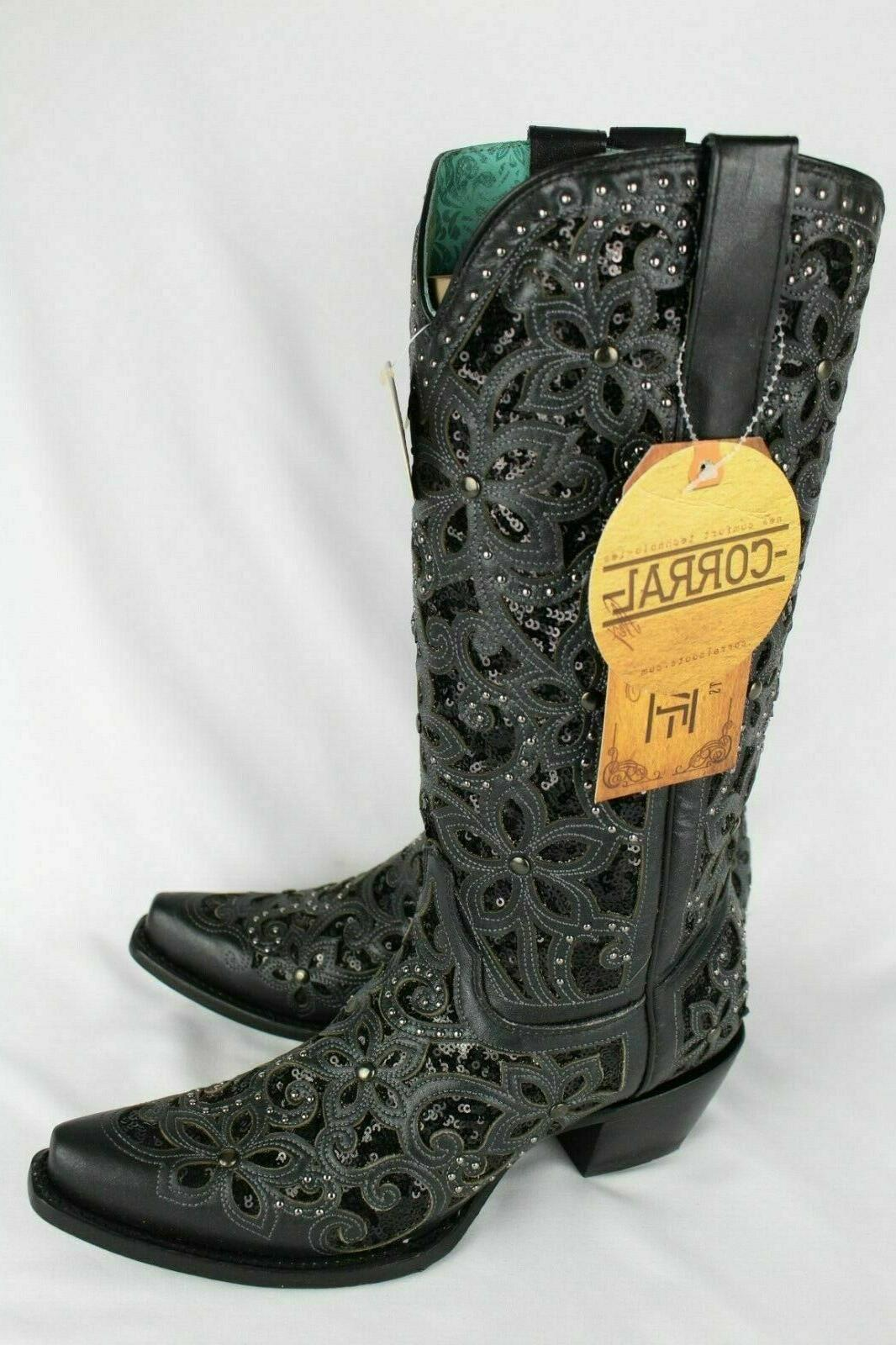 corral women s floral embroidered inlay glitter