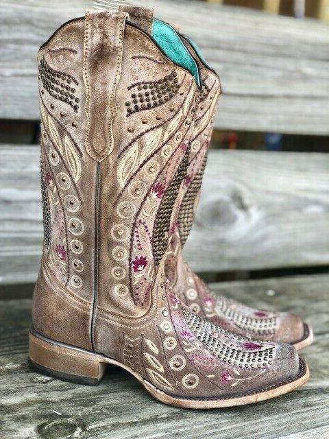 Corral Floral Crystal Toe Western