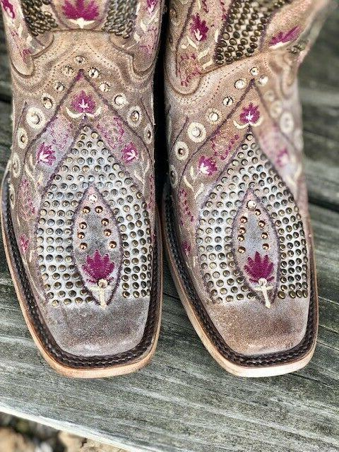 Corral Women's Mauve Floral Crystal
