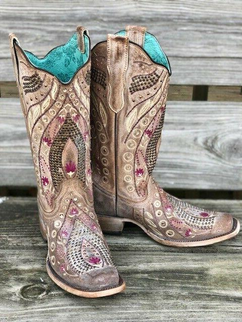Corral Women's Mauve Floral & Crystal Toe Western