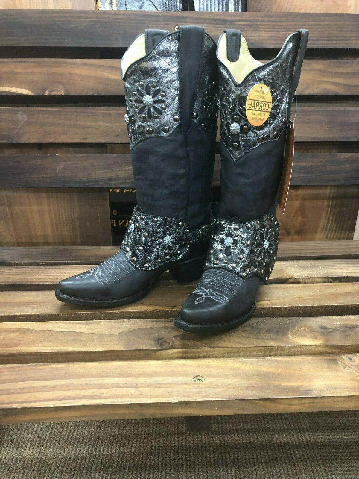 corral womens black studs and harness western