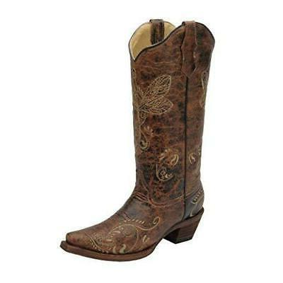 corral womens l5001 dragonfly embroidery brown western