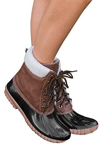 Dellytop Womens Duck Boots Lace Up Waterproof Shoes