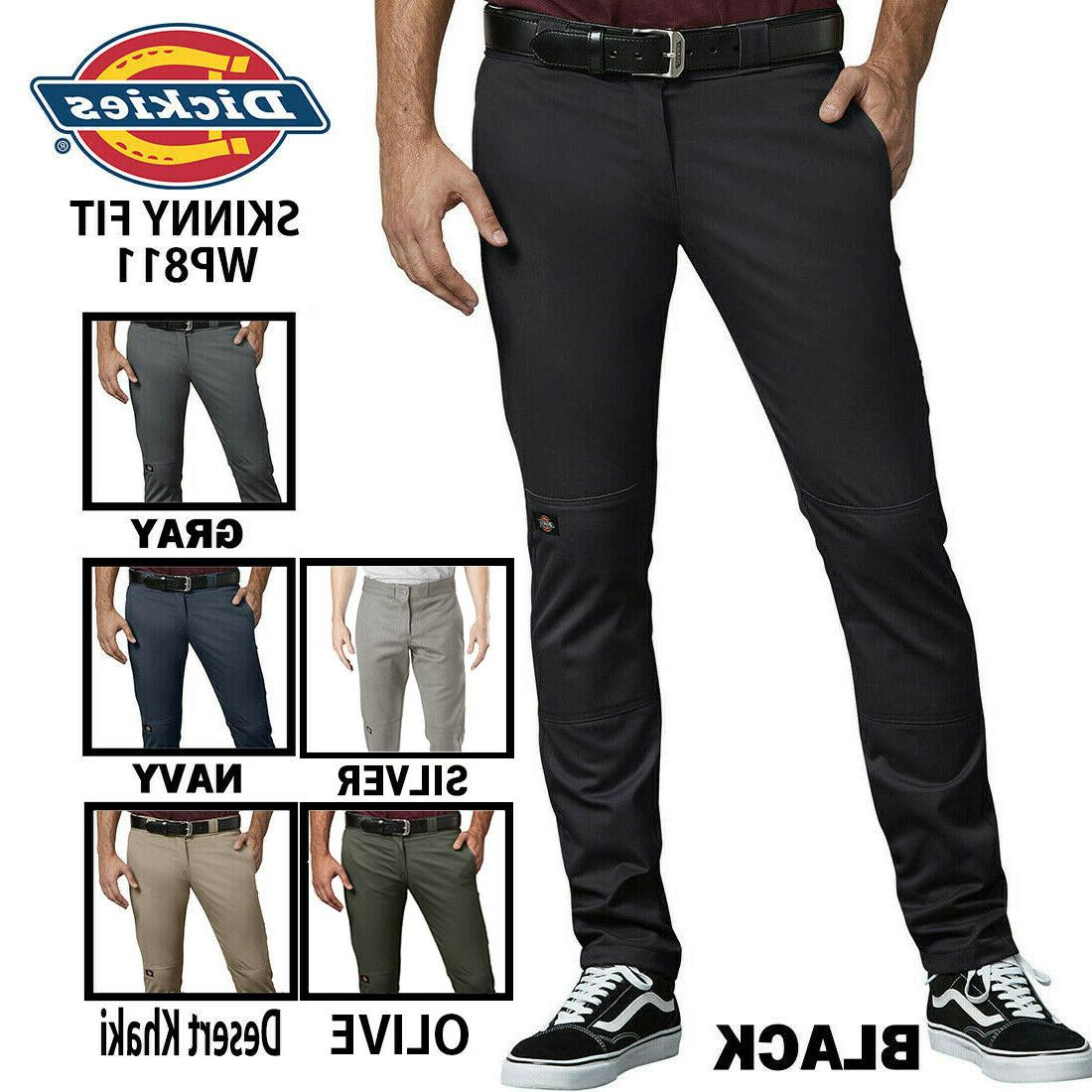 flex skinny straight fit long pants double