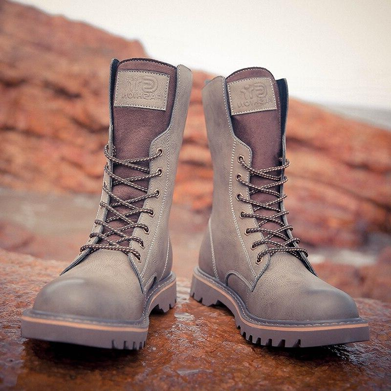 ZSAUAN Knee <font><b>Boots</b></font> Top Class Casual Male Motorcycle Increase