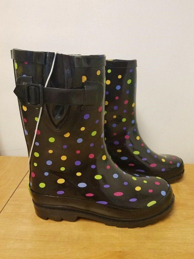 girls molly dot rain boots check