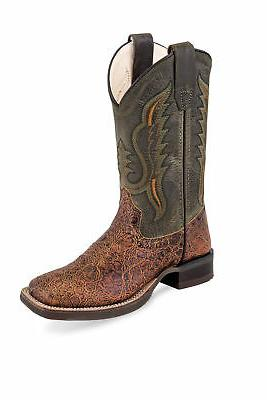 green brown kids boys leather exotic cowboy