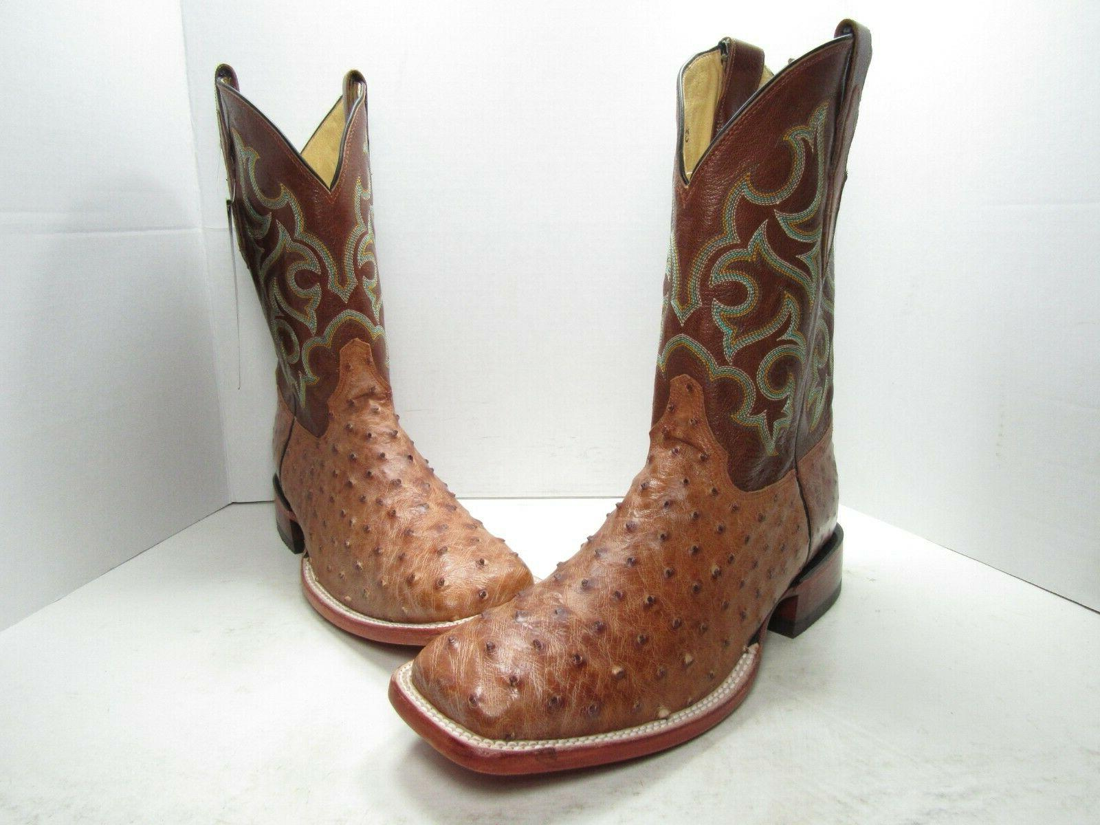 justin full quill ostrich western boots men