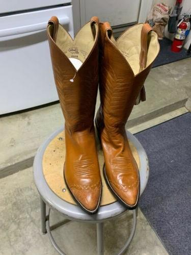 justin leather vintage cowboy western boots size