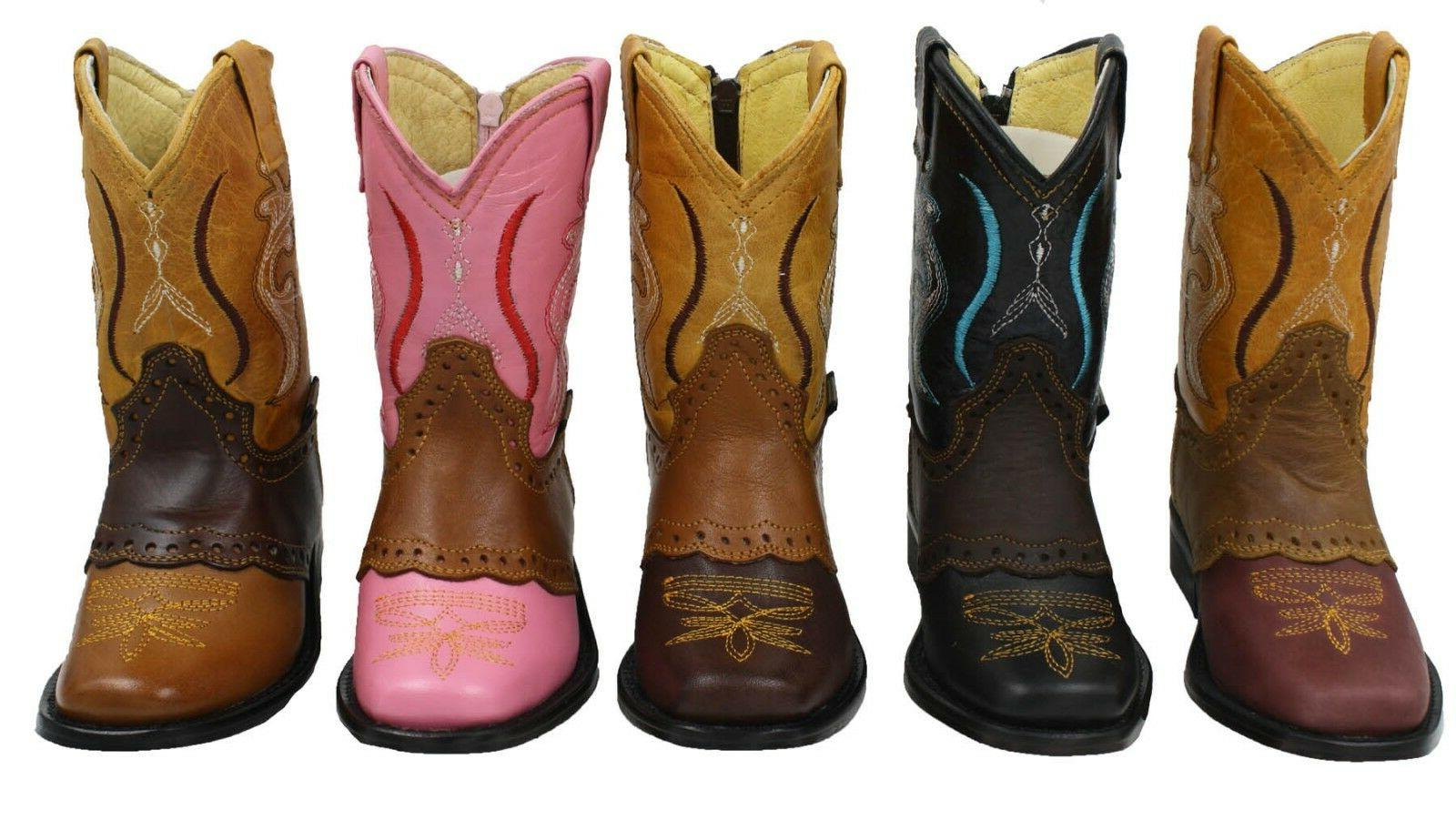 kids baby toddler genuine leather cowboy boots