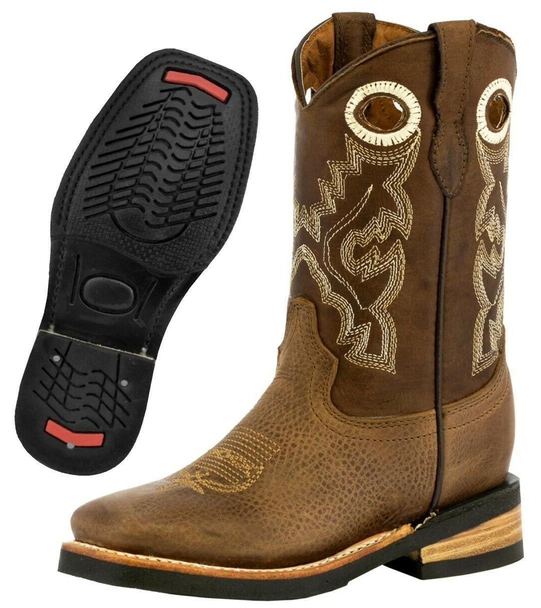 kids unisex western leather cowboy boots brown
