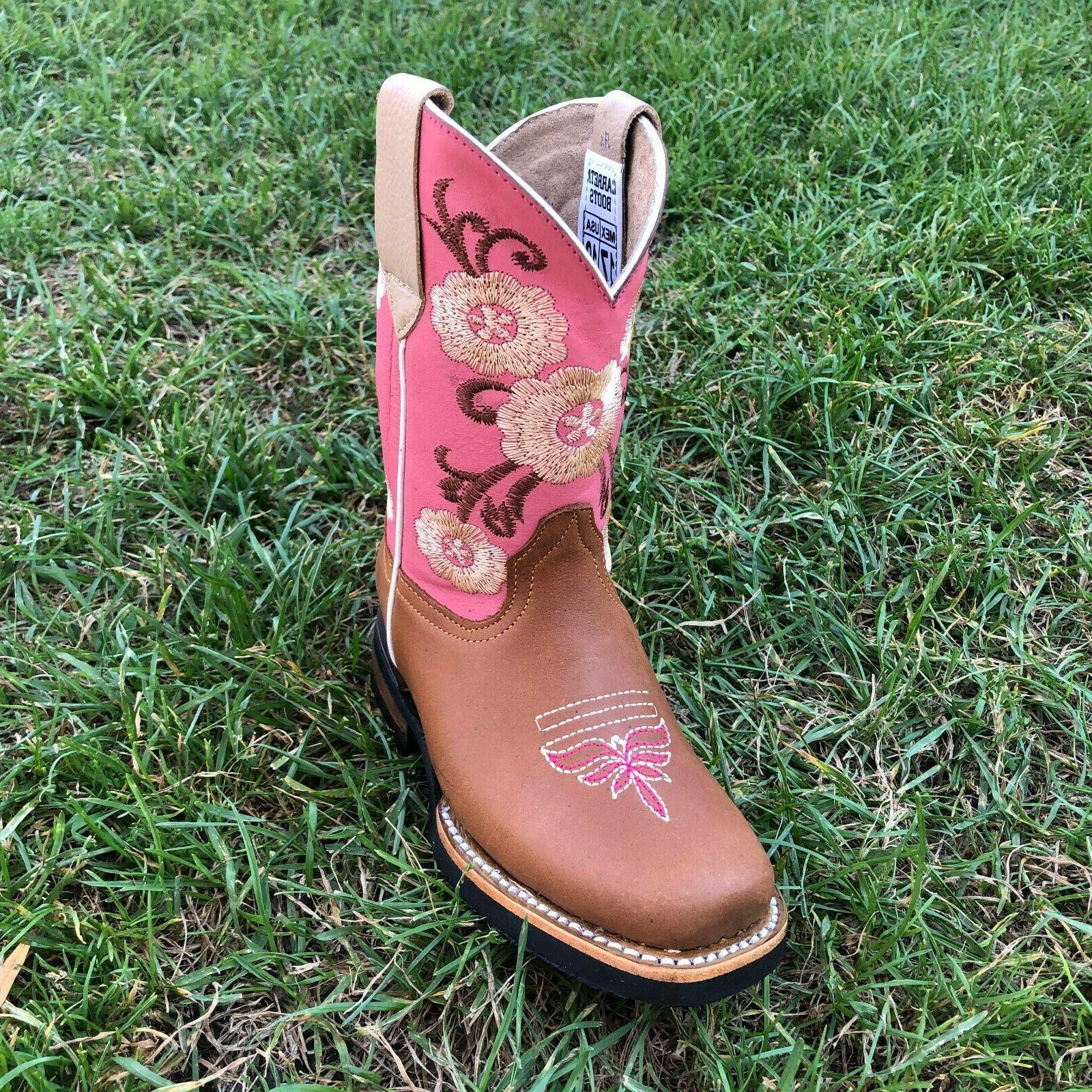 Kids Western Embroidery Leather Pink Cowgirl Square