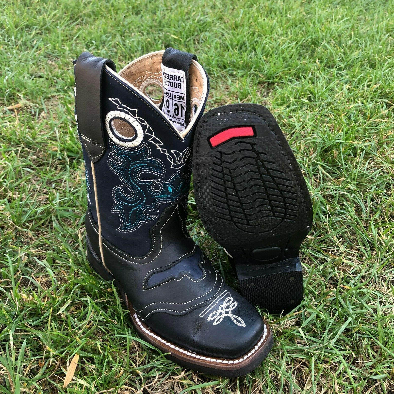 Kids Boots Embroidery Square Botas