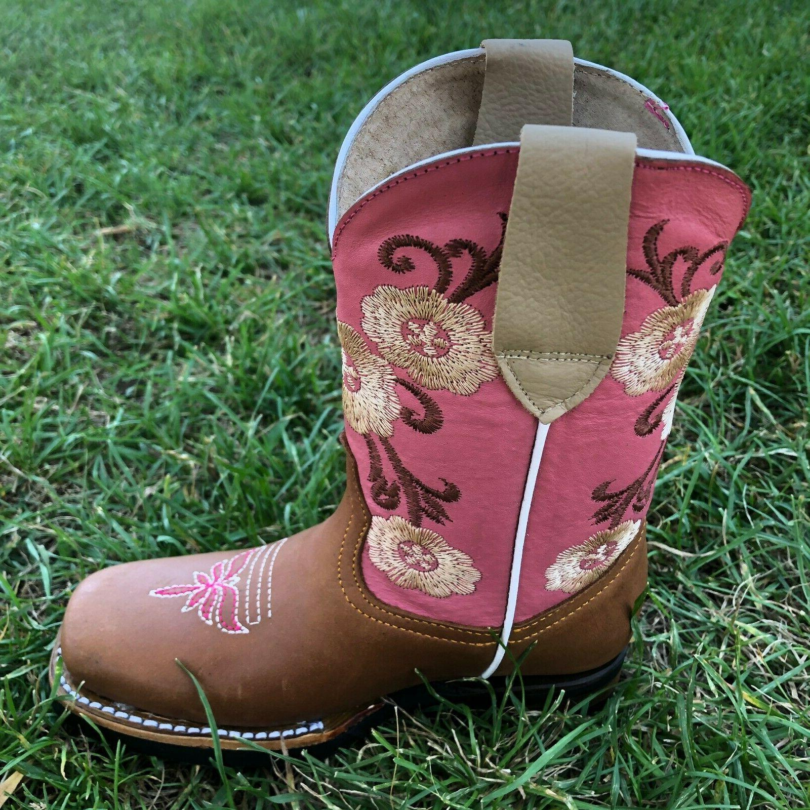 Kids Boots Embroidery Leather Square Niño