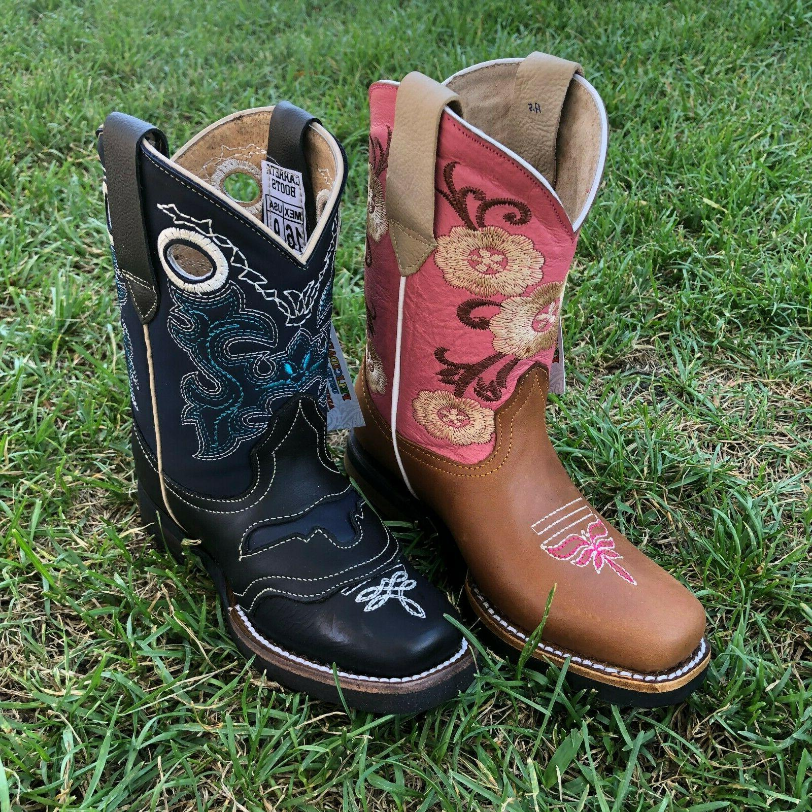 kids western boots floral embroidery leather pink