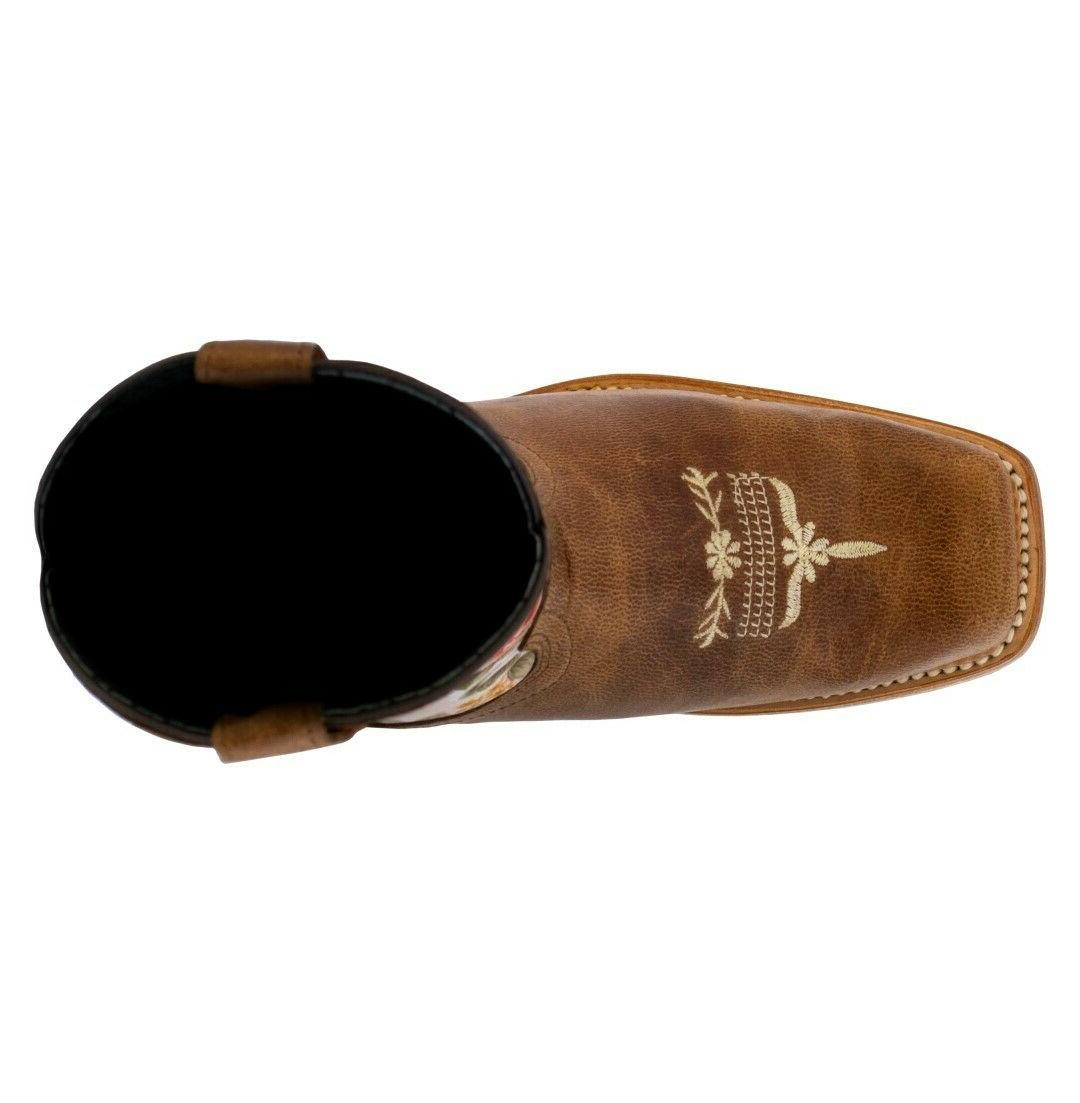 Kids Light Brown Cowgirl Square Botas Rancho